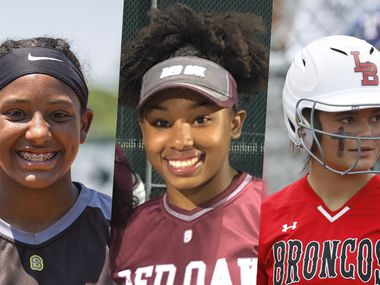 From left to right: Forney's Vanessa Hollingsworth, Red Oak's Brianna Evans and Mansfield Legacy's Kelby Robbins.