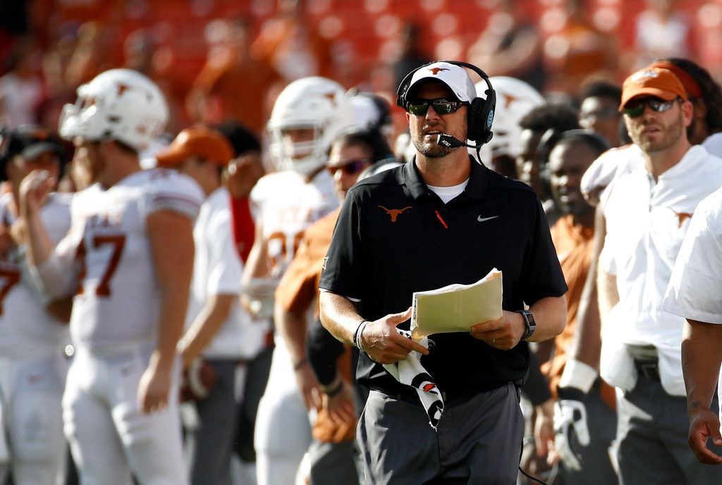 Texas head coach Tom Herman walks on the sideline in the second half of an NCAA college football game against Maryland, Saturday, Sept. 1, 2018, in Landover, Md. (AP Photo/Patrick Semansky)