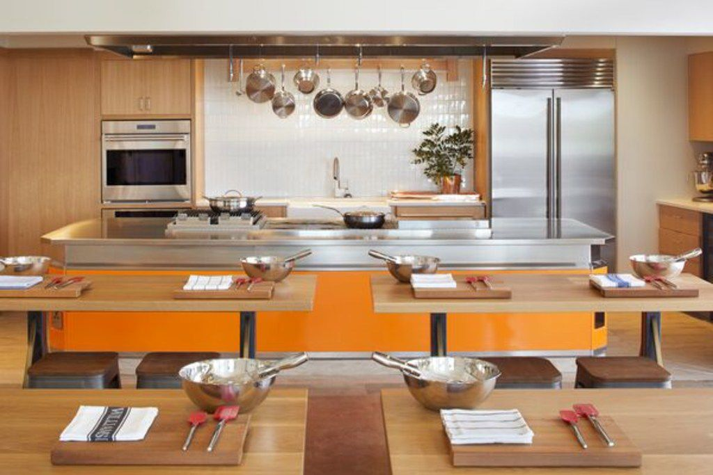 The culinary kitchen at Miraval Austin is outfitted with Williams-Sonoma items and offers cooking classes with executive chef Ben Baker.