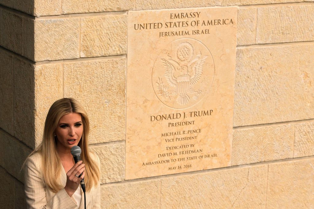 President Donald Trump's daughter and adviser, Ivanka, speaks during the opening ceremony of the new U.S. embassy in Jerusalem on May 14, 2018. Amid deadly clashes along the Israeli-Palestinian border, Trump's top aides and supporters celebrated the opening of the embassy as a campaign promised fulfilled.