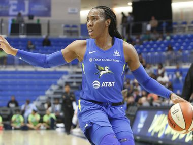 Dallas Wings forward Kayla Thornton (6) directs the offense as she sets up a play during first half action against Indiana Fever.  The two teams played their WNBA preseason game at UT-Arlington's College Park Center in Arlington on May 19, 2019.
