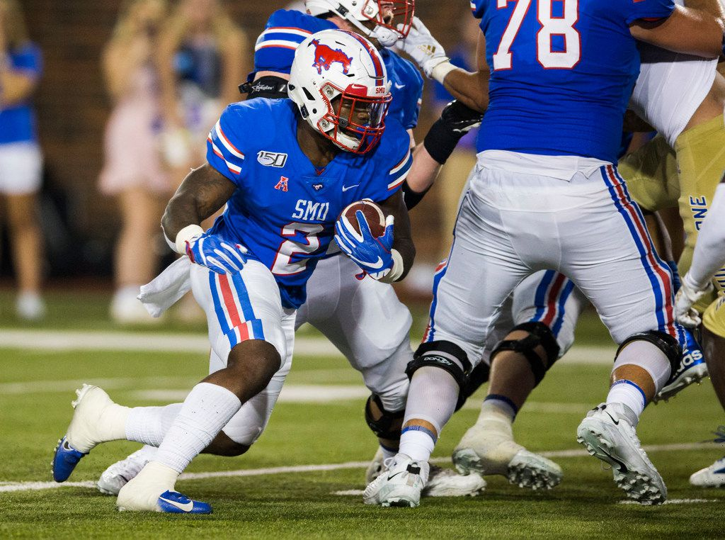 SMU Mustangs safety Patrick Nelson (2) runs toward the end zone during the third quarter of an NCAA football game between Tulsa and SMU on Saturday, October 5, 2019 at Ford Stadium on the SMU campus in Dallas. (Ashley Landis/The Dallas Morning News)