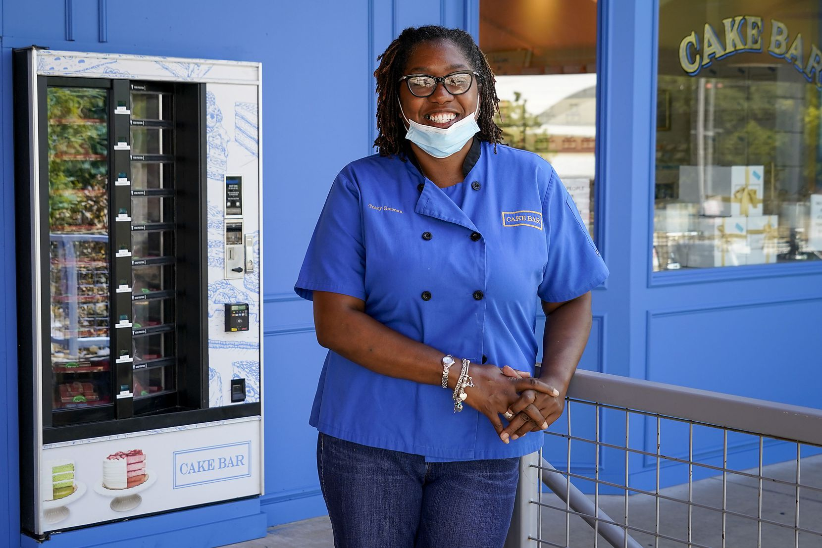 Tracy German, Cake Bar's operator, bought a vending machine. The lazy susans inside the machine dispense slices of cake 24 hours a day.