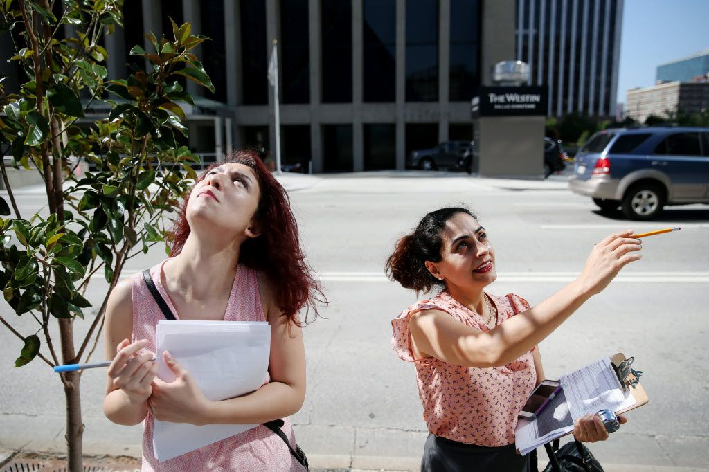 University of Texas at Arlington students Shirin Ghorbani (left) and Somayeh Moazzeni conducted a survey on the walkability of downtown Dallas in July 2016. The students are analyzing the factors that contribute to pedestrians' use of downtown.