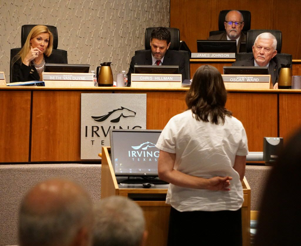 Irving Mayor Beth Van Duyne listens to residence speak out against a chicken ordinance during the city council meeting in Irving, Texas on Thursday, July 21, 2016. The residence are hoping the ordinance is lifted.   (Lawrence Jenkins/Special Contributor)