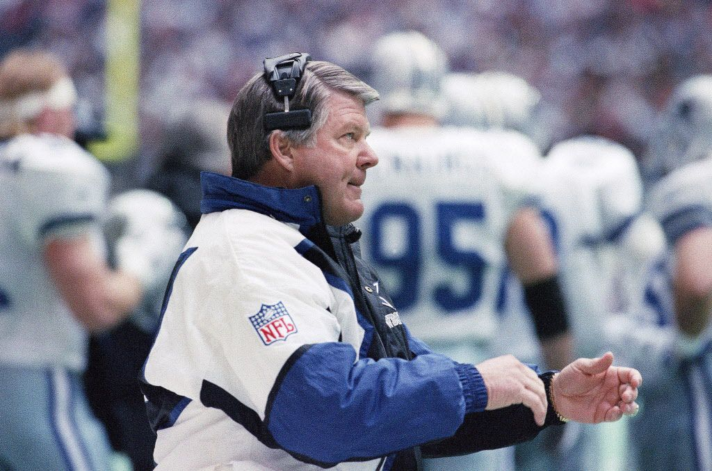 FILE - Cowboys head coach Jimmy Johnson is pictured during the first quarter of a game against the Packers on Sunday, Jan. 16, 1994, in Irving. (AP Photo/Pat Sullivan)