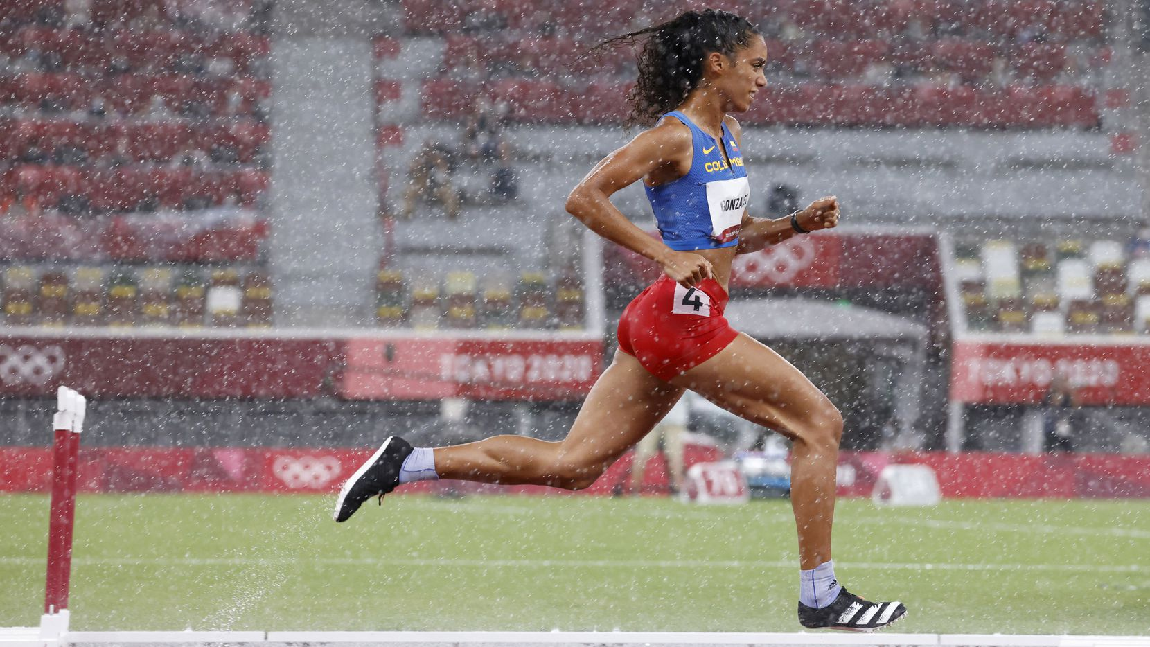 Columbia's Melissa Gonzalez competes in the women's 400 meter hurdles semifinal during the postponed 2020 Tokyo Olympics at Olympic Stadium, on Monday, August 2, 2021, in Tokyo, Japan. Gonzalez finished with a time of 57.47 seconds and did not advance to the final.