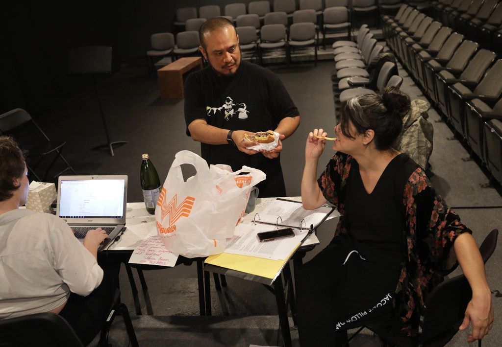 From left, Alex Alpharaoh and Brisa Areli Munoz take time for Whataburger during a rehearsal break for WET: A DACAmented Journey at Theatre Three.