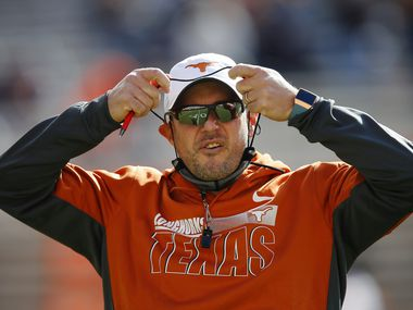 STILLWATER, OK - OCTOBER 31:  Head coach Tom Herman of the Texas Longhorns perpares for a game against the Oklahoma State Cowboys at Boone Pickens Stadium on October 31, 2020 in Stillwater, Oklahoma.  (Pool Photo by Brian Bahr/Getty Images) EDITORIAL USE ONLY  *** Local Caption *** Tom Herman