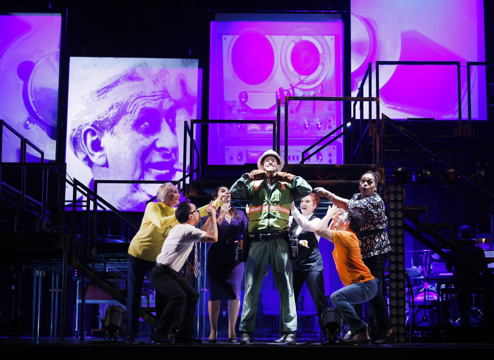 """Dallas Theater Center's seven-member cast of """"Working: A Musical"""" at their dress rehearsal at Strauss Square."""