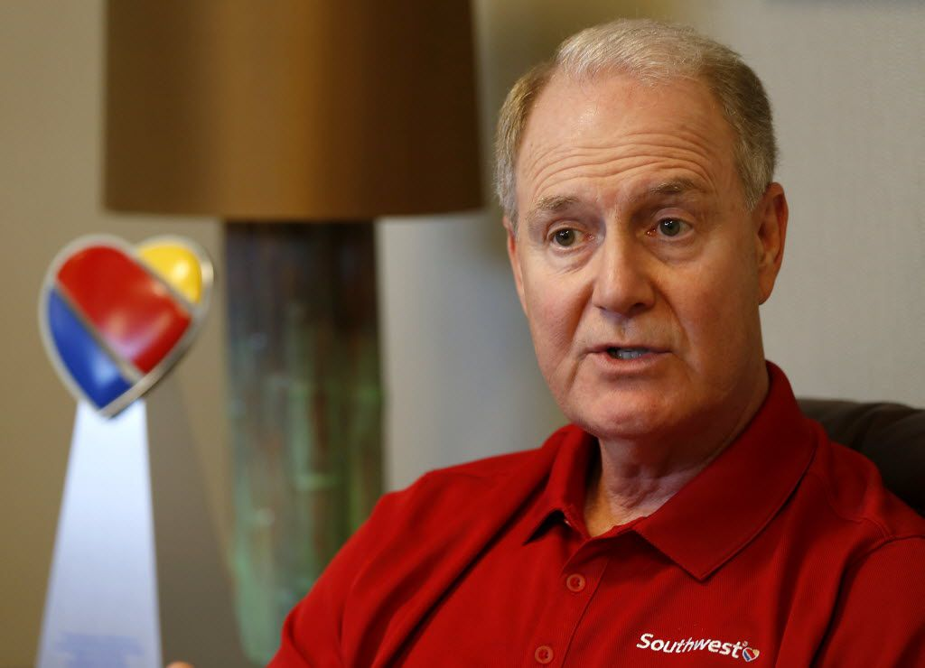 Southwest Airlines CEO Gary C. Kelly discusses the faulty router that resulted in thousands of flight cancellations during an interview Friday in his office at Love Field. (Jae S. Lee/The Dallas Morning News)
