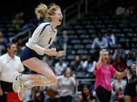 Flower Mound's Kaylee Cox celebrates a point during the 2018 Class 6A state championship match against Fort Bend Ridge Point at the Curtis Culwell Center in Garland. Cox was named the MVP of the match after Flower Mound won in four sets. (Brandon Wade/Special Contributor)
