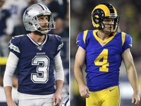 Dallas Cowboys kickers Kai Forbath (left) and Greg Zuerlein (right).