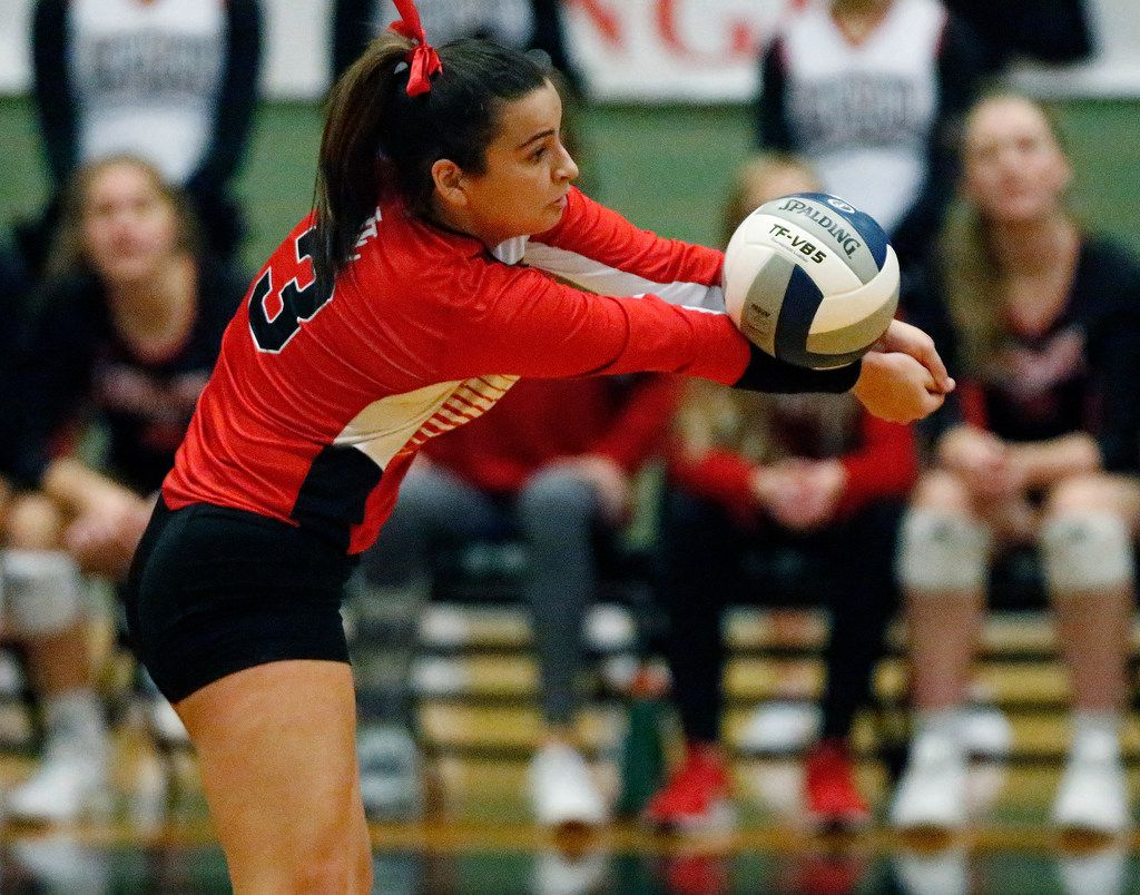 Lovejoy High School defensive specialist Callie Kemohah (3) passes a serve in game one as Lovejoy High School hosted Highland Park High School in the Class 5A Region II championship match held at Berkner High School in Richardson on Saturday, November 16, 2019. (Stewart F. House/Special Contributor)