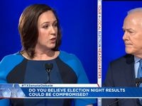 In this frame grab from video, Republican Sen. John Cornyn and Democratic candidate MJ Hegar debate on Oct. 9, 2020, in Austin.