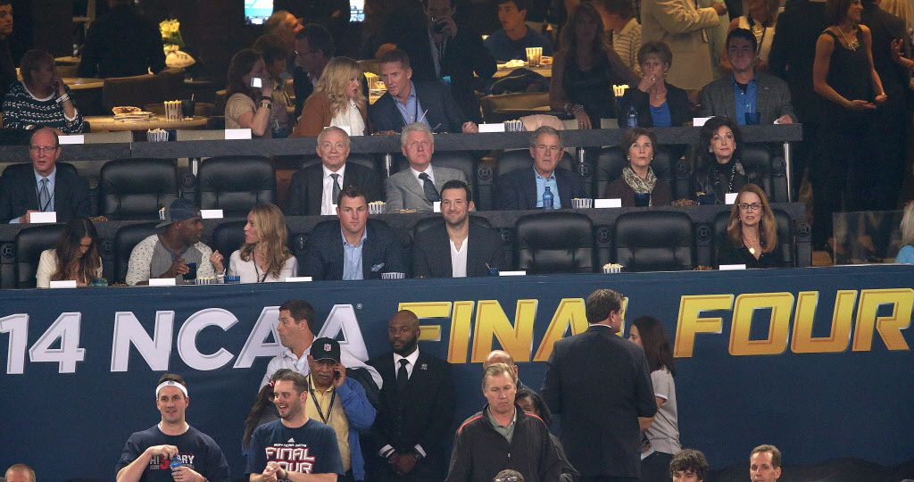 Owners Box: (Above) Dallas Cowboys head coach Jason Garrett; (Middle Row) Dallas Cowboys owner Jerry Jones, former President Bill Clinton, former President George W. Bush, former First Lady Laura Bush, and (bottom left to right) Dallas Cowboys tight end Jason Witten and quarterback Tony Romo look on during the first half of their NCAA Final Four championship game Monday, April 7, 2014 at AT&T Stadium in Arlington, Texas. (Brad Loper/The Dallas Morning News) -- MANDATORY CREDIT, NO SALES, MAGS OUT, TV OUT, INTERNET USE BY AP MEMBERS ONLY   04092014xNEWS