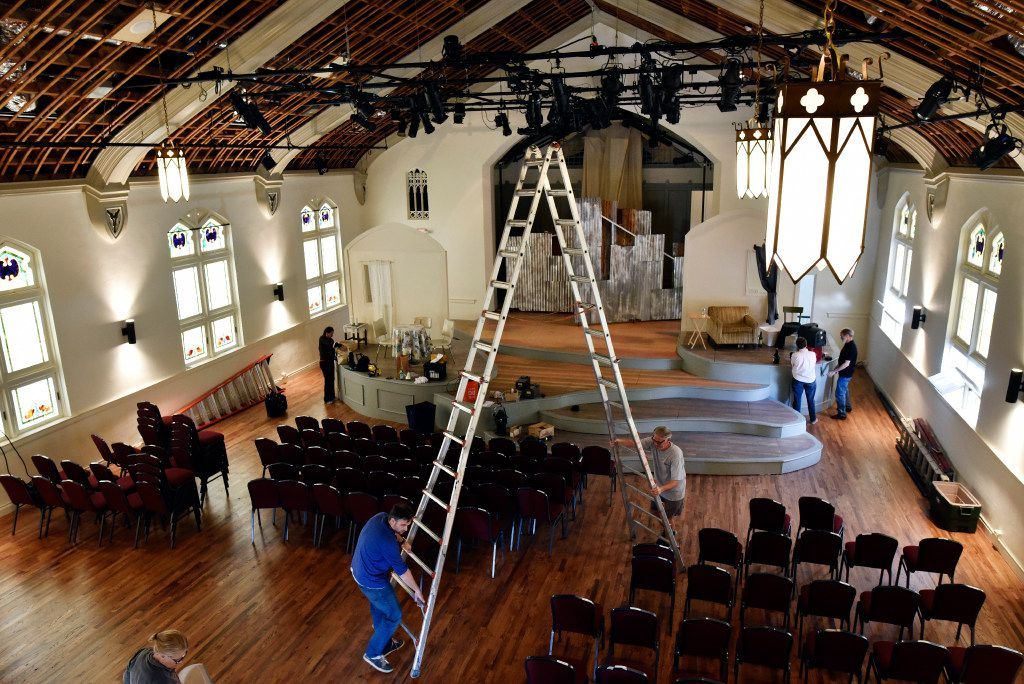 Workers prepare for the opening of the Arts Mission Oak Cliff, formerly the Winnetka Congregational Church.