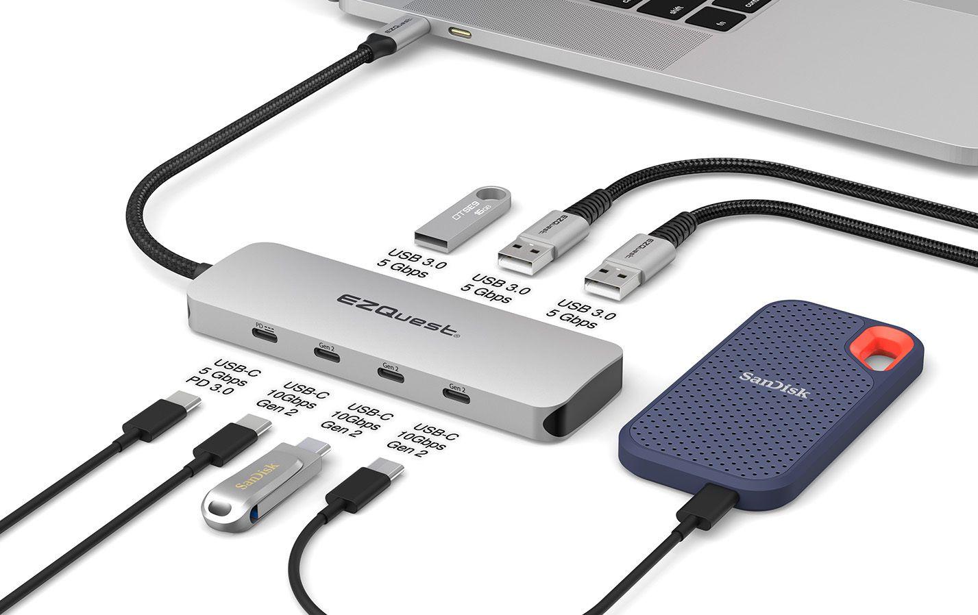The EZQuest USB-C Gen 2 Hub Adapter 7 ports