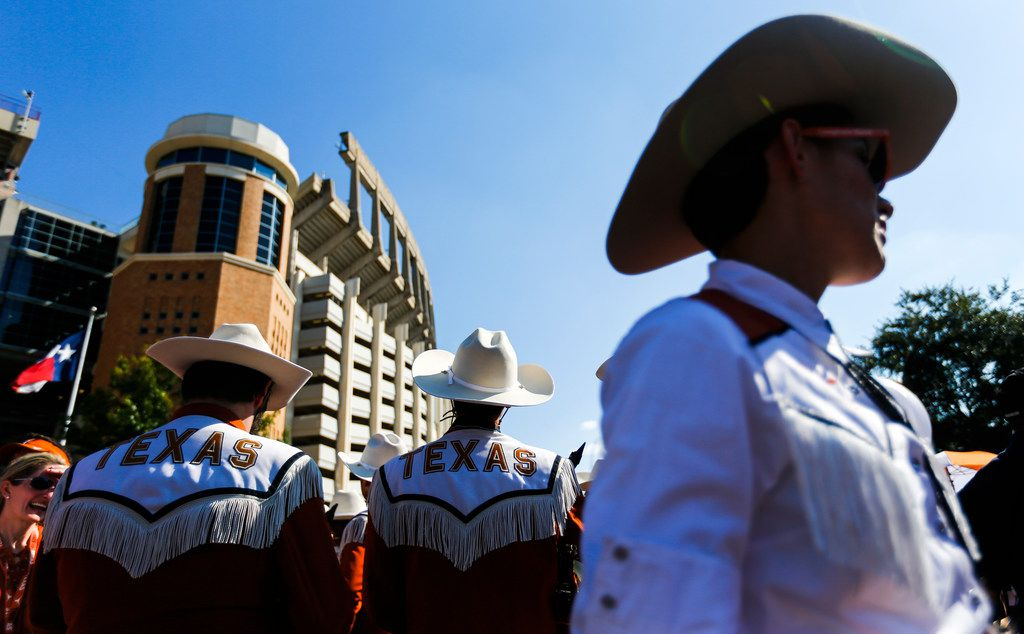 The Longhorn Band prepares to march in with the team prior to a college football game between the University of Texas and Louisiana State University on Saturday, Sept. 7, 2019 at Darrell Royal Memorial Stadium in Austin, Texas.