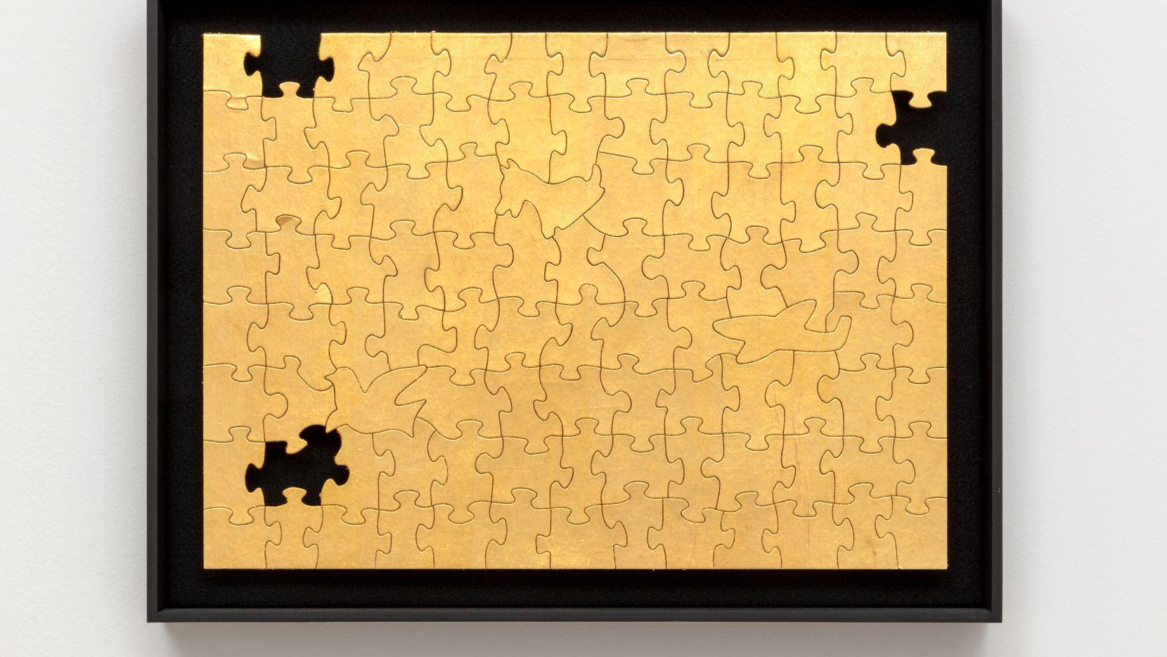 Gabriel Dawe, 'Missing No. 4,' 2019, 24-karat gold on puzzle in artist frame at the Gabriel Dawe exhibition titled 'Found' at Talley Dunn Gallery through Oct. 31.