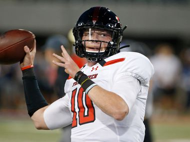 Texas Tech quarterback Alan Bowman (10) warms up prior to an NCAA college football game against Arizona, Saturday, Sept. 14, 2019, in Tucson, Ariz.