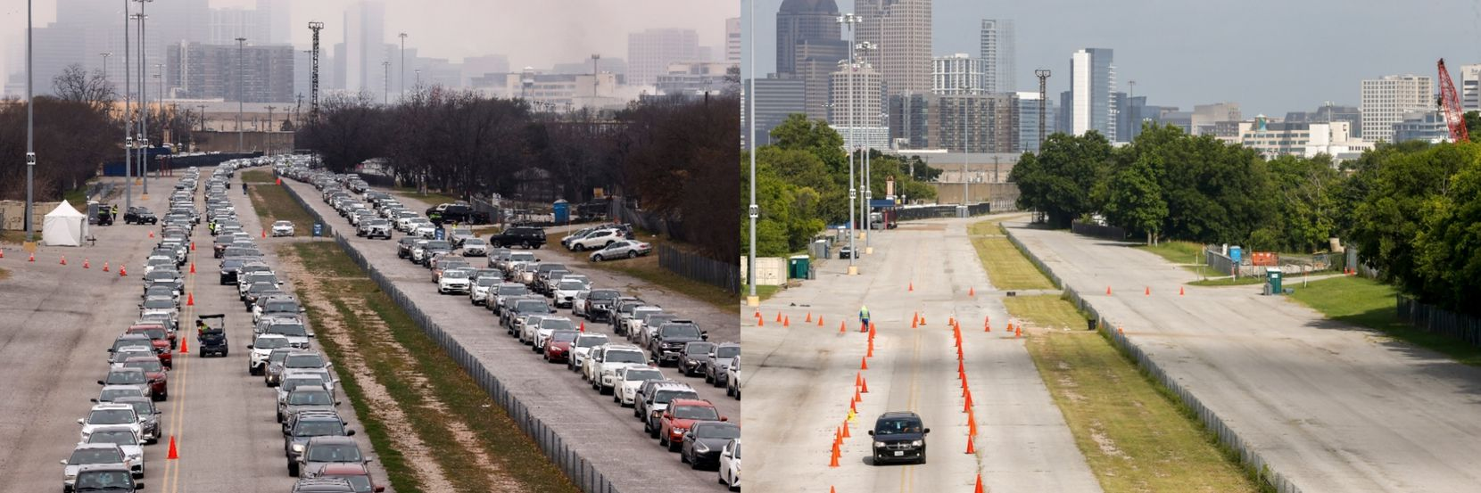 At right, a lone vehicle makes its way toward the vaccination megasite at Fair Park on Saturday. It was a far cry from the scene at left (shot by staff photographer Tom Fox). At its peak, the site could dole out 12,000 shots a day.
