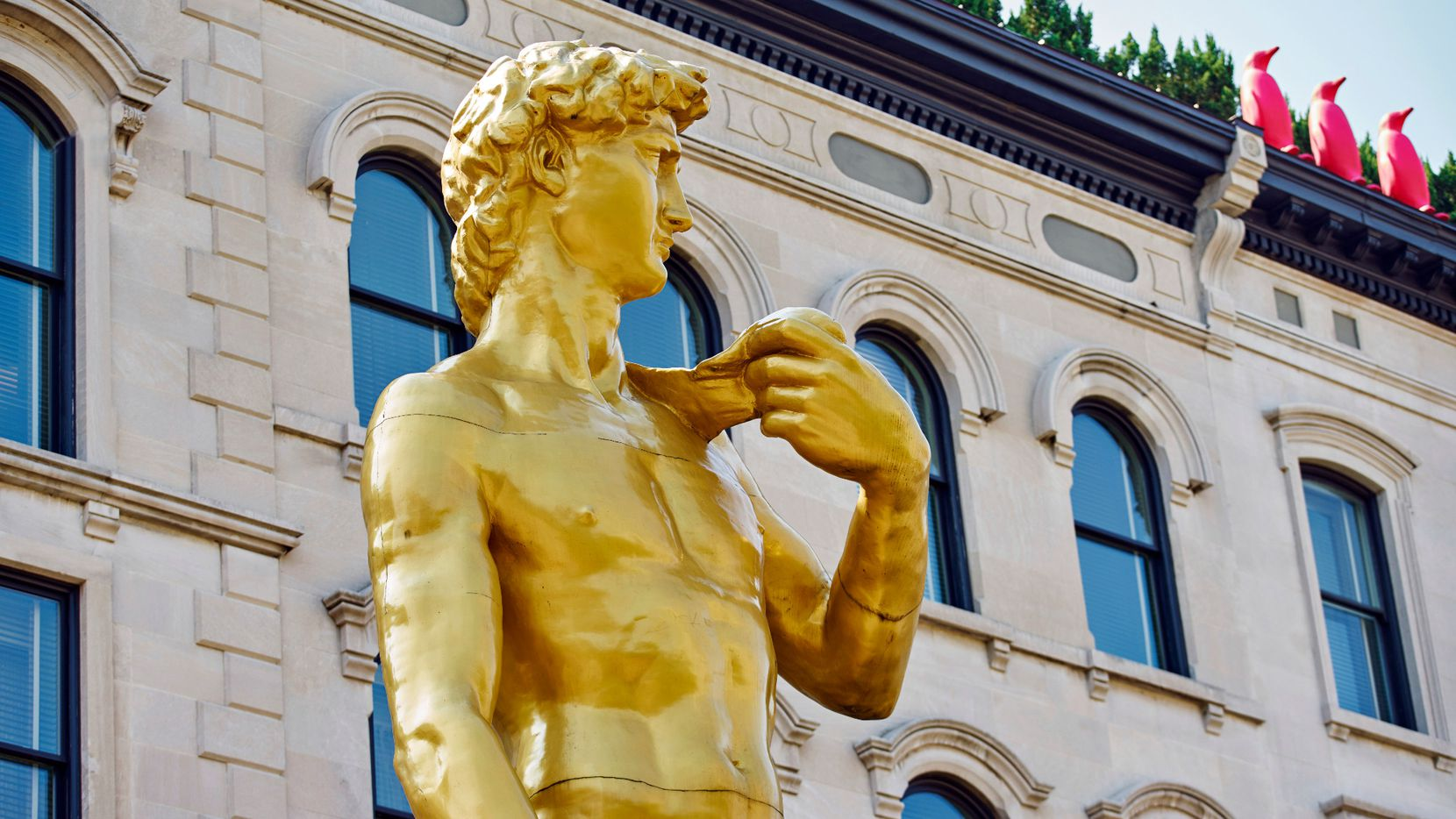 Conceptual artist Serkan Özkaya made his double-size golden replica of Michelangelo's David for the 9th International Istanbul Biennial in 2005. Now, the 30-foot-tall statue sits outside the 21c Museum Hotel in Louisville.