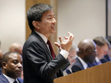 Dallas County Health Department director Dr. Philip Huang presents information about the coronavirus at the Dallas County Commissioner Court in Dallas, Tuesday, February 4, 2020. (Tom Fox/The Dallas Morning News)
