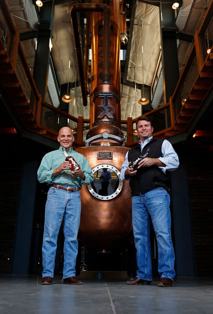 Leonard Firestone (left) and Troy Robertson inside their namesake distillery in 2017.