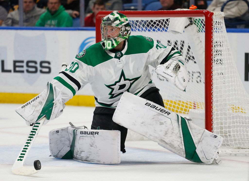 Dallas Stars goalie Ben Bishop makes a save during the third period of the team's NHL hockey game against the Buffalo Sabres, Tuesday, March 12, 2019, in Buffalo, N.Y. (AP Photo/Jeffrey T. Barnes)