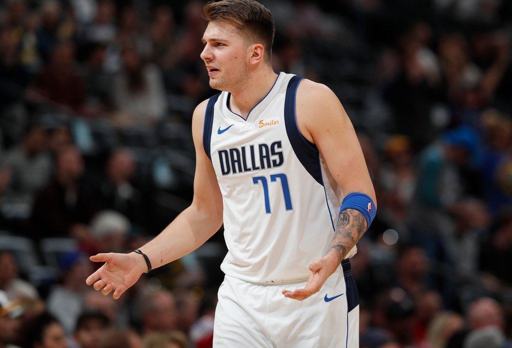 Dallas Mavericks forward Luka Doncic argues for a call in the first half of an NBA basketball game against the Denver Nuggets Tuesday, Dec. 18, 2018, in Denver. (AP Photo/David Zalubowski)