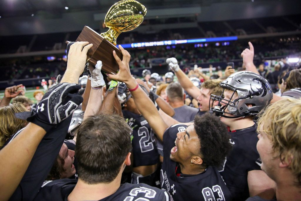 The Denton Guyer Wildcats celebrate after winning a Class 6A Division II Region I semifinal game against Arlington at the Star in Frisco, on Saturday, November 30, 2019. Guyer won 42-21 to advance to the regional final. (Juan Figueroa/The Dallas Morning News)