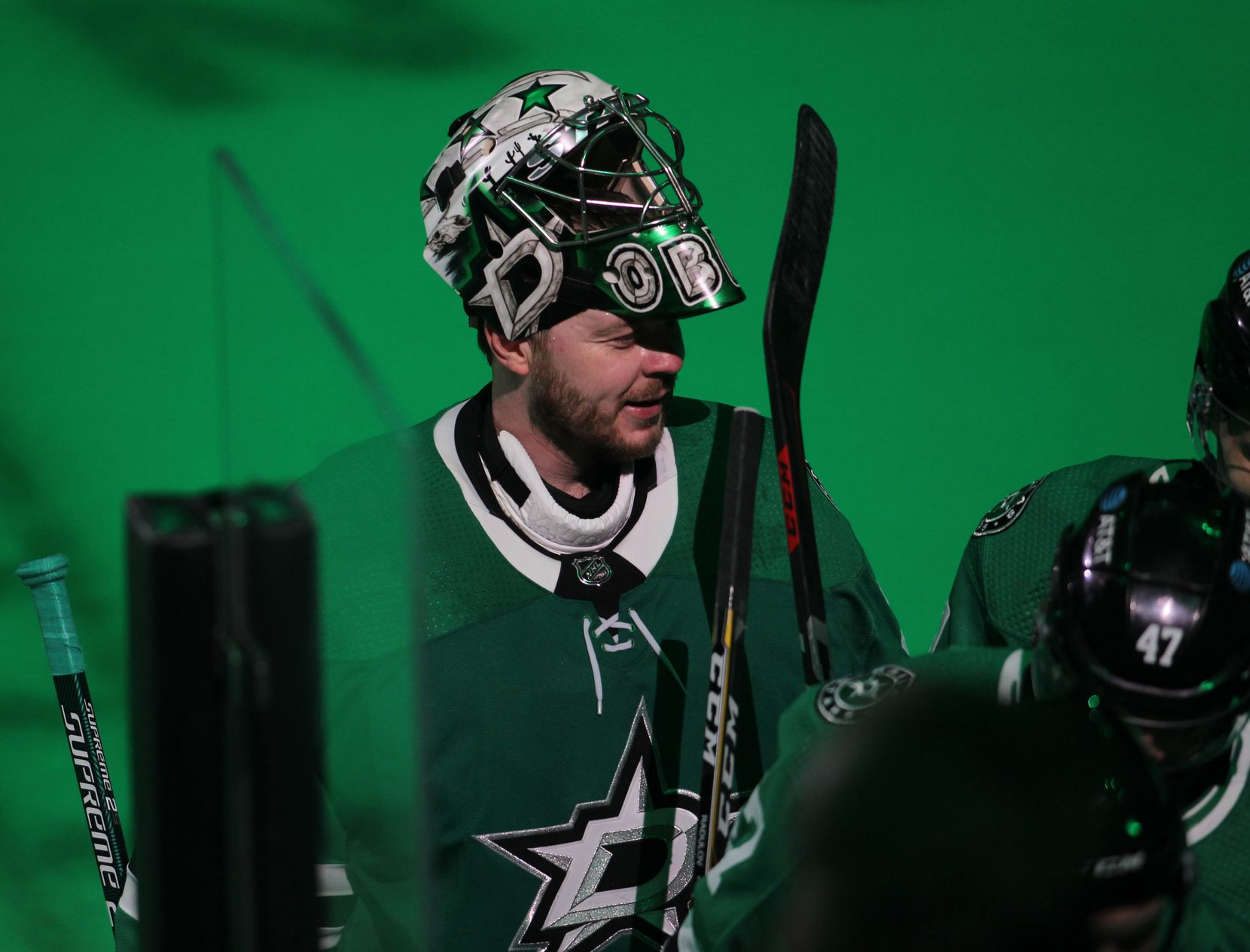 Dallas Stars goalie Anton Khudobin (35) sports a smile following the Stars' 3-2 victory over the Nashville Predators.The two teams played their NHL game at the American Airlines Center in Dallas on January 24 , 2021. (Steve Hamm/ Special Contributor)