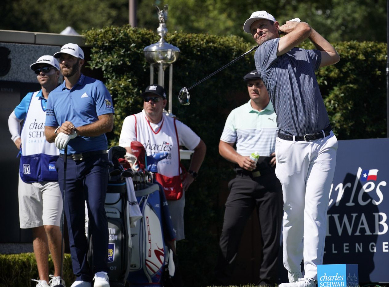 PGA Tour golfer Justin Rose tees off on No. 1 during the opening round of the Charles Schwab Challenge at the Colonial Country Club in Fort Worth, Thursday, June 11, 2020.  The Challenge is the first tour event since the COVID-19 pandemic began. (Tom Fox/The Dallas Morning News)