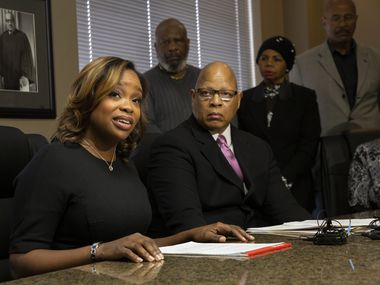 DeSoto councilwoman Candice Quarles announced in a brief press conference last week with her lawyer that she would not be stepping down, despite calls for her resignation. At right is her attorney Anthony Lyons. (Juan Figueroa/ The Dallas Morning News)