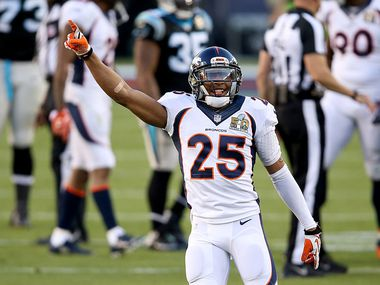 SANTA CLARA, CA - FEBRUARY 07: Chris Harris Jr. #25 of the Denver Broncos reacts after Denver recovered a fumble by Mike Tolbert #35 of the Carolina Panthers during Super Bowl 50 at Levi's Stadium on February 7, 2016 in Santa Clara, California.