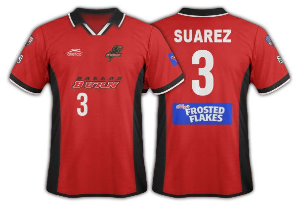 2001-02 Dallas Burn red with black side panels primary.