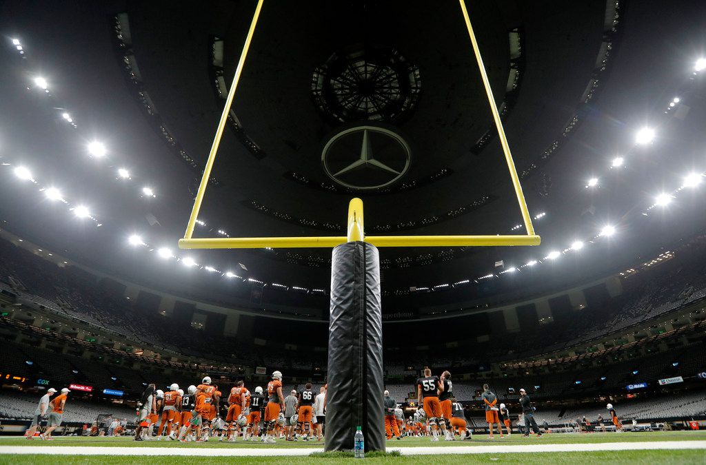 Texas practices inside the Superdome in New Orleans, Friday, Dec. 28, 2018. Texas will face Georgia in the Sugar Bowl NCAA college football game on Jan. 1, 2019. (AP Photo/Gerald Herbert)