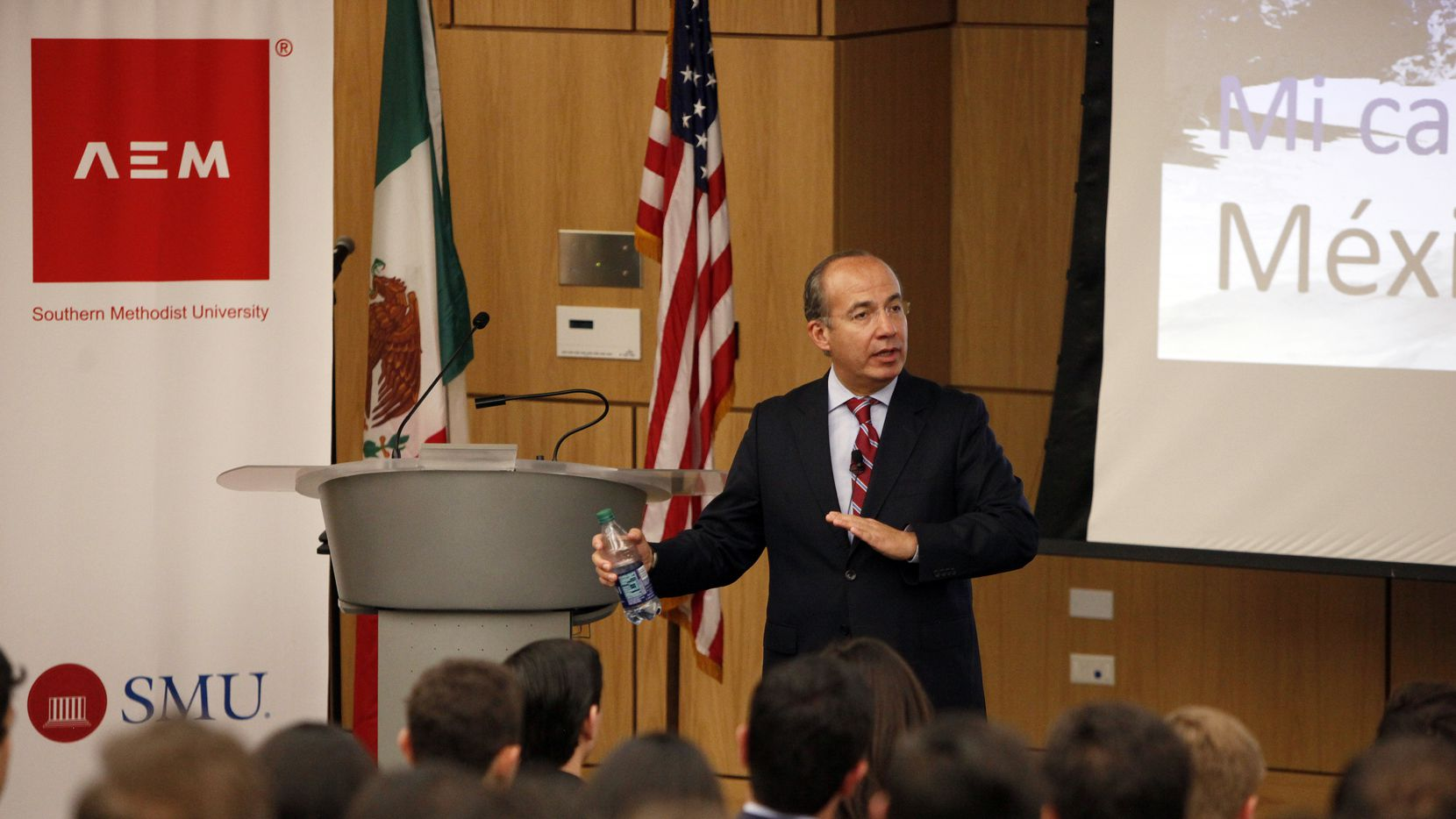 Former Mexican President Felipe Calderon speaks to students and faculty at the Association of Mexican Entrepreneurs (AEM) on the campus of Southern Methodist University in Dallas, Thursday afternoon, March 30, 2017. Ben Torres/Special Contributor