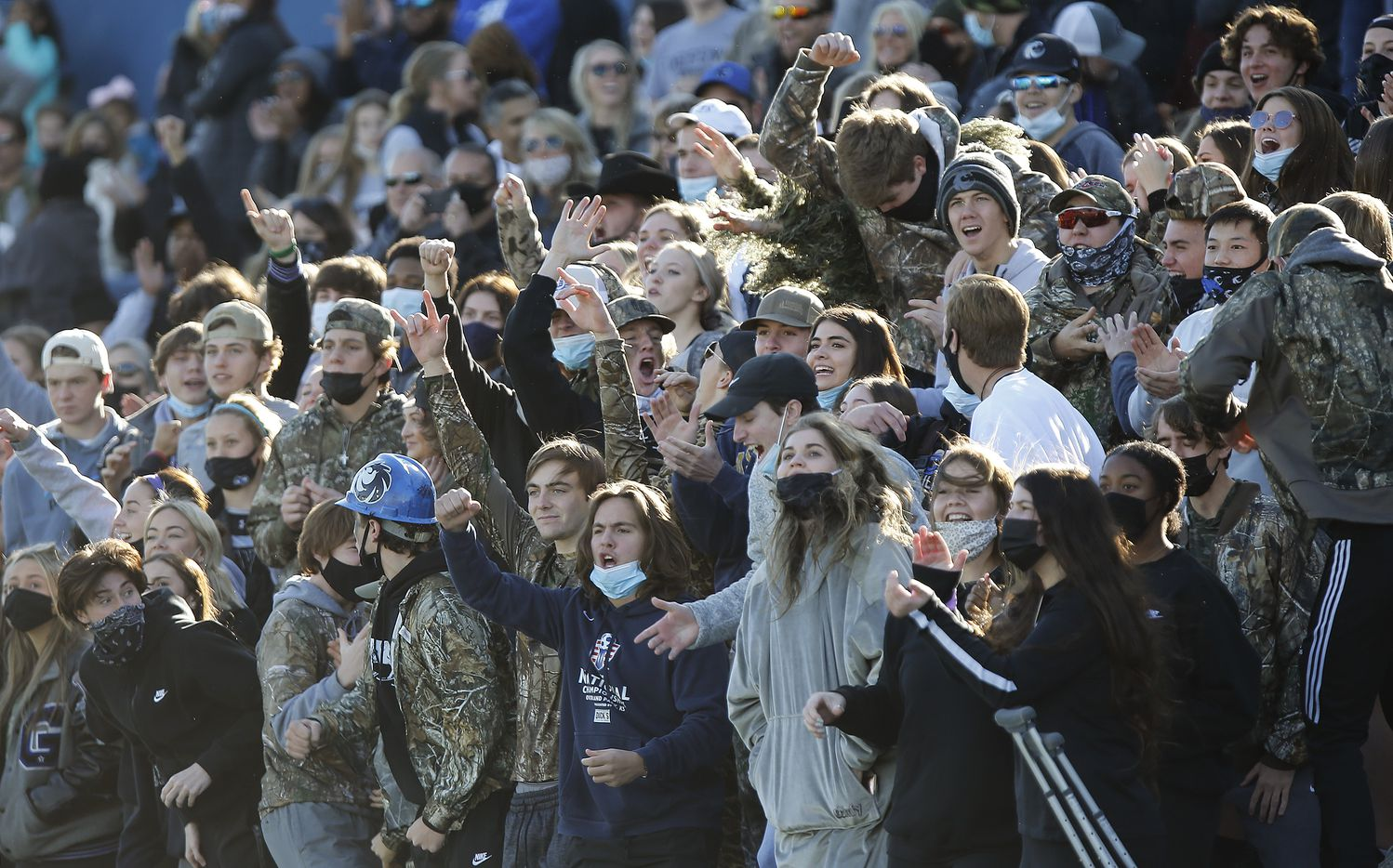 The Denton Guyer High School student section cheers a defensive stand during the second half as Prosper High School played Denton Guyer High School in the Class 6A Division II, Region I final at McKinney ISD Stadium in McKinney on Saturday, January 2, 2021.  (Stewart F. House/Special Contributor)