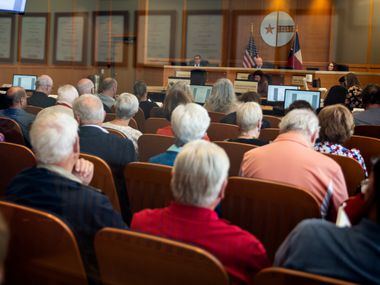Over a hundred people came to observe and speak at the Collin County Commissioners Court meeting at the Collin County Administration Building in McKinney, Texas on May 24.