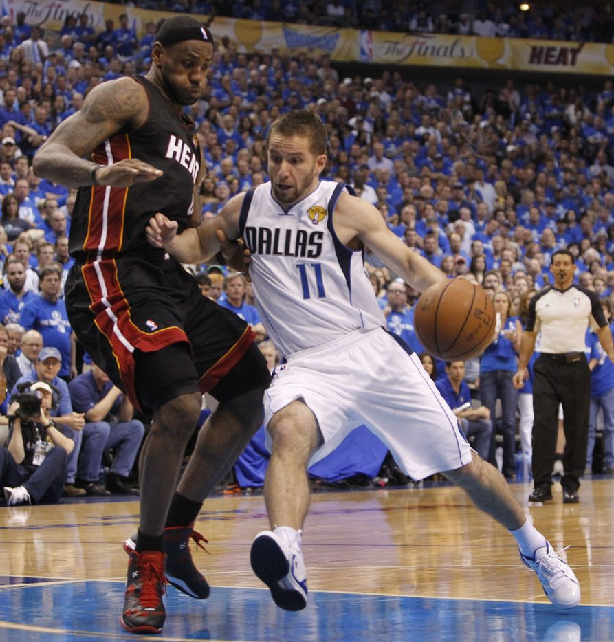 Dallas Mavericks point guard Jose Juan Barea (11) tries to drive past Miami Heat small forward LeBron James (6) during the fourth quarter of play in game five of the NBA Finals at American Airlines Center Thursday, June 9, 2011 in Dallas.  (Louis DeLuca/The Dallas Morning News) 12252011xSPORTSmaverickspreview