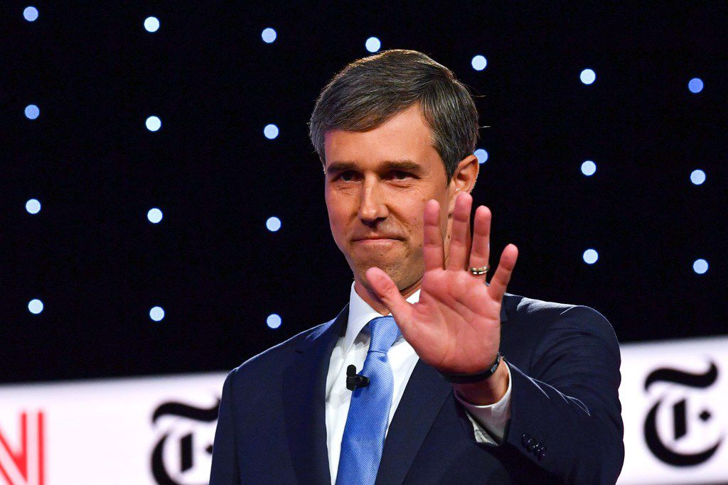 Democratic presidential hopeful former Texas representative Beto O'Rourke waves as he arrives onstage for the fourth Democratic primary debate of the 2020 presidential campaign season co-hosted by The New York Times and CNN at Otterbein University in Westerville, Ohio, on Oct. 15.