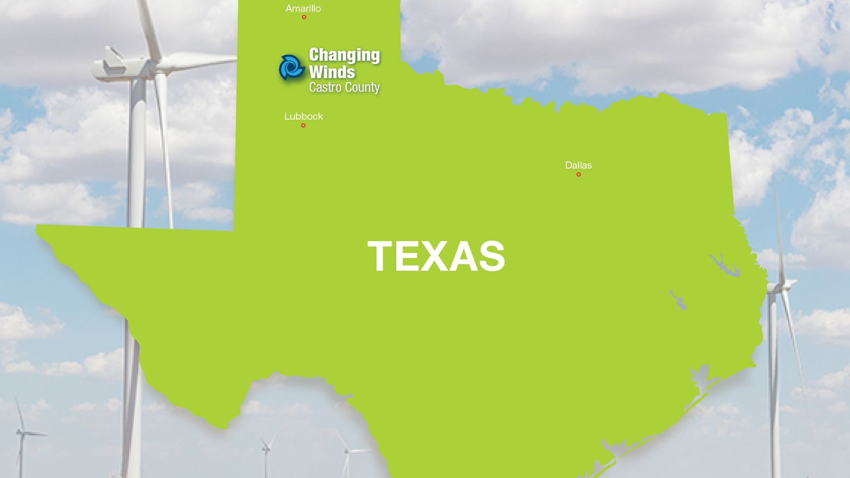 The Changing Winds electrical generation plant is between Lubbock and Amarillo in West Texas.