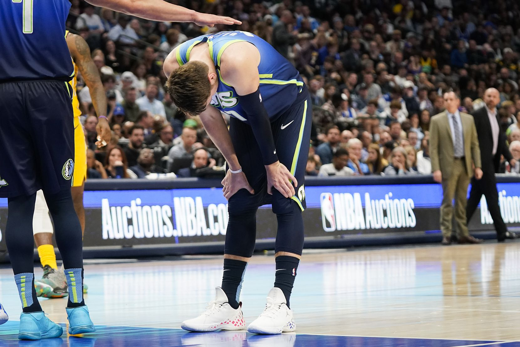 Dallas Mavericks guard Luka Doncic reacts after missing a free throw during the first half of an NBA basketball game against the Los Angeles Lakers at American Airlines Center on Friday, Jan. 10, 2020, in Dallas.