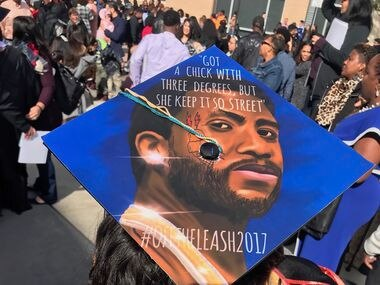Bria Gladney, 24, is a self-taught artist from Plano who has gained popularity for her inspirational graduation cap art. This is one of her creations featuring rapper Gucci Mane.