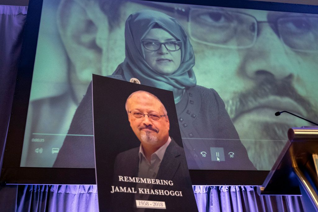 A video image of Hatice Cengiz, fiancee of slain Saudi journalist Jamal Khashoggi, was played during an event to remember Khashoggi in Washington on Nov. 2.