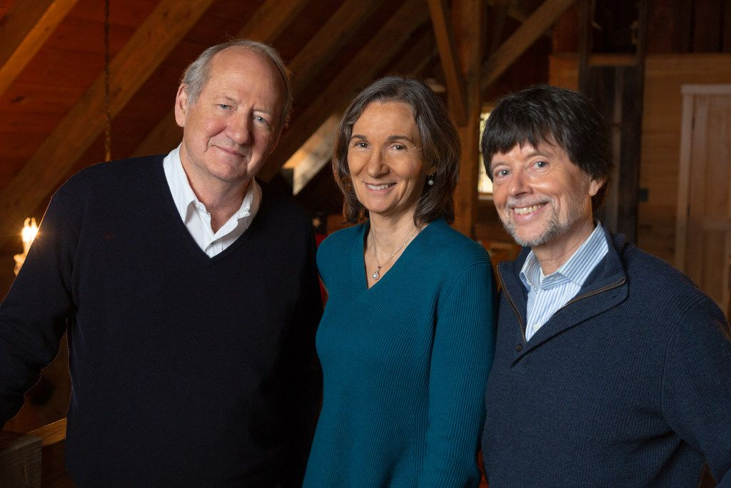 Pictured from left to right are 'Country Music' producer and writer Dayton Duncan, producer Julie Dunfey and director Ken Burns.
