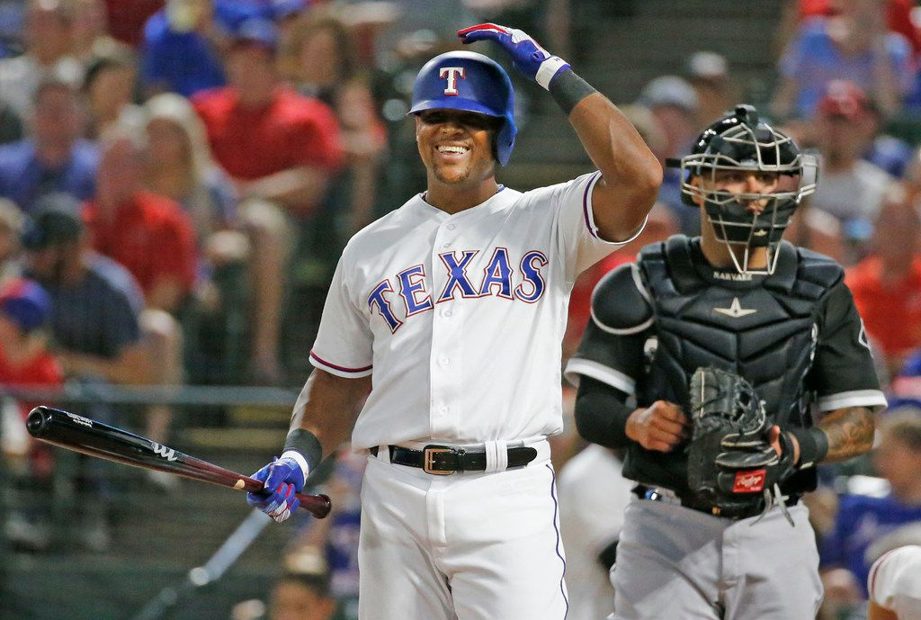 Texas Rangers designated hitter Adrian Beltre (29) smiles after talking with home plate umpire Joe West as he comes to bat in the fourth inning during the Chicago White Sox vs. the Texas Rangers major league baseball game at Globe Life Park in Arlington, Texas on Saturday, June 30, 2018. (Louis DeLuca/The Dallas Morning News)