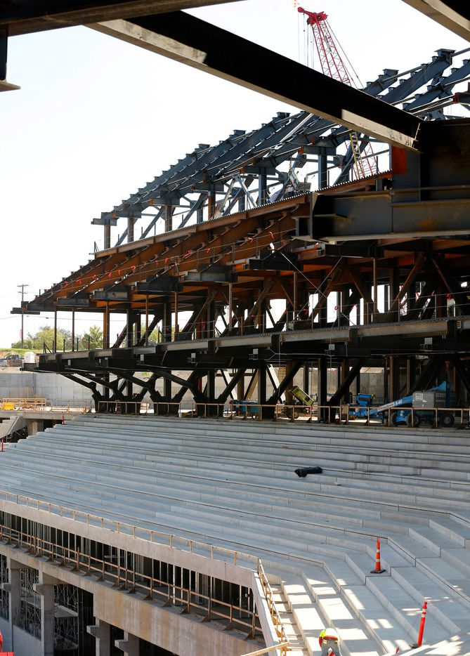 The concrete main concourse seating (lower) and the steel framework of the upper concourse are seen at the new Globe Life Field under construction in Arlington, Texas, Tuesday, September 18, 2018. (Tom Fox/The Dallas Morning News)